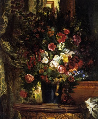 DELACROIX Eugene A Vase of Flowers on a Console