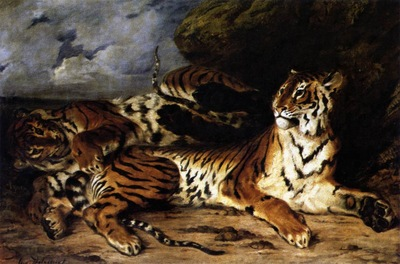 DELACROIX Eugene A Young Tiger Playing with its Mother