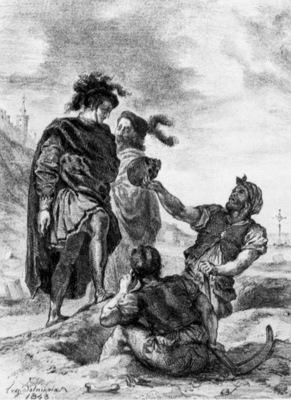 DELACROIX Eugene Hamlet and Horatio in the Graveyard sketch