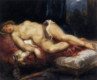 DELACROIX Eugene Odalisque Reclining on a Divan