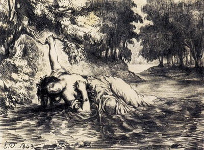 DELACROIX Eugene The Death of Ophelia