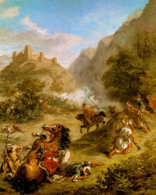 Delacroix Arabs Skirmishing in the Mountains, 1863, 92 5x74