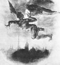 Mephistopheles Over Wittenberg From Goethes Faust
