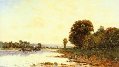 Delpy Hippolyte camille Washerwomen In A River Landscape Wi