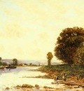 Delpy Hippolyte camille Washerwomen In A River Landscape Wi