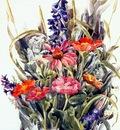 demuth zinnias larkspur and daisies