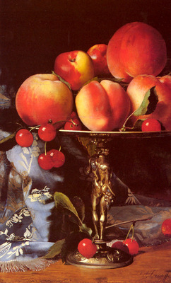 Desgoffe Blaise A Still Life With Peaches Plums And Cherries