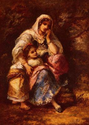 Diaz de la Pena Narcisse Virgile Gypsy Mother And Child