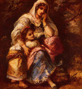 Diaz de la Pena Narcisse Virgile Gypsy Mother And Child