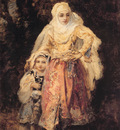 Diaz de lal Pena Oriental Woman and Her Daughter