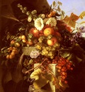 Dietrich Adelheid Still Life With Grapes Peaches Flowers And A Butterfly