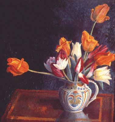 carrington tulips in a staffordshire jug c1921