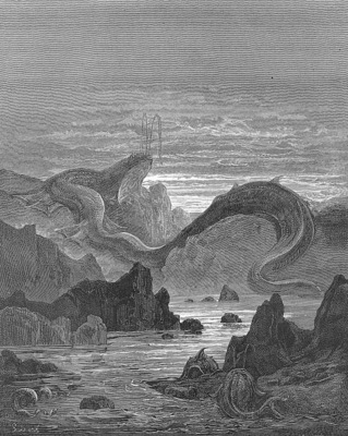 pl032 And seems a moving land and at his gills Draws in, and at his trunk spouts out, a sea