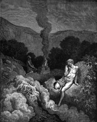 Cain and Abel offering their sacrifices