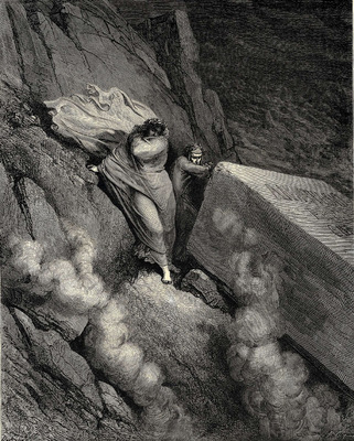 Dore Gustave 31 From the profound abyss behind the lid of a great monument we stood retir d