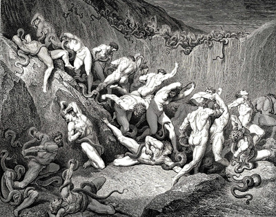 Dore Gustave 53  Naked souls are being haunted through this cruel barren land of serpents without any hope of shelter