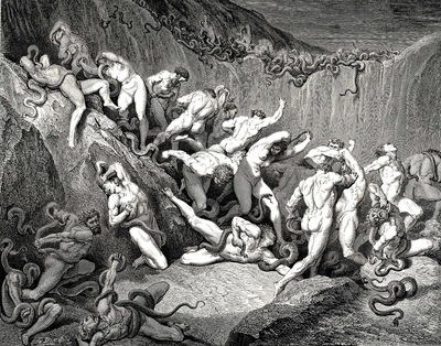 Dore Gustave 53  Naked souls are being haunted through this cruel barren land of serpents without
