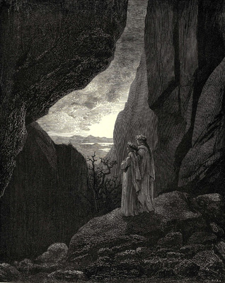 Dore Gustave 74  My guide and I entered the hidden path leading to our well lighted world