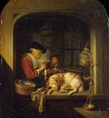 Dou,G  The herring seller, 1670 75, 41x30 cm, Eremitaget