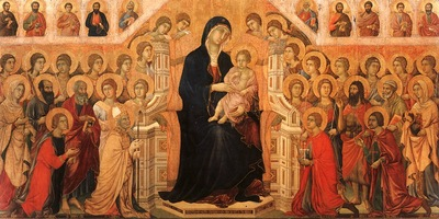 Duccio Madonna Child Enthroned with Angels Saints, Museo