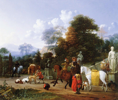 Dujardin Karel Departure for the hunt Sun