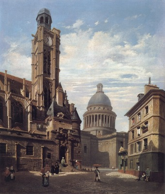 A View of The Pantheon and the Church of Saint Etienne Du Mont Paris