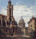 A View of The Pantheon and the Church of Saint Etienne Du Mont Paris