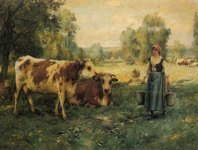 Dupre Julien A Milk Maid with Cows and Sheep