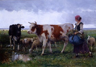 Peasant woman with cows and sheep