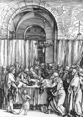DURER REFUSAL OF JOACHIMS OFFER,1502 03, WOODCUT