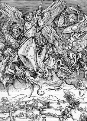 DURER ST  MICHAELS FIGHT AGAINST THE DRAGON,1498, WOODCUT