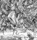 DURER ST  MICHAELS FIGHT AGAINST THE DRAGON,1498, WOODCUT