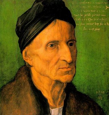 DURER PORTRAIT OF MICHAEL WOLGEMUT,1516, GERMANISCHES NATION
