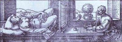 Albrecht Durer Draughtsman Drawing a Recumbent Woman