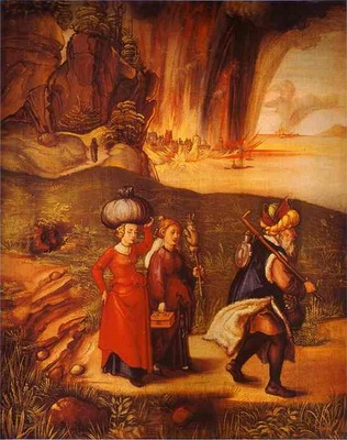 Albrecht Durer Lot Fleeing with His Daughters from Sodom