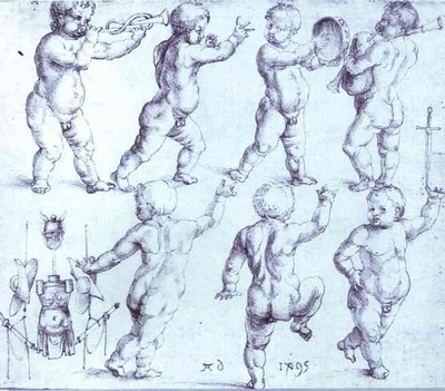 Albrecht Durer Putti Dancing and Making Music