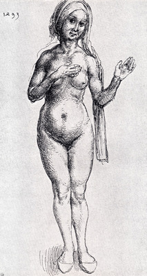 Durer Female Nude With Headcloth And Slippers