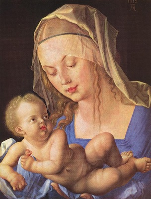 DURER MADONNA WITH CUT PEAR,1512, KUNSTHISTORISCHES MUSEUM,