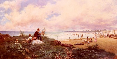 Echena Jose The Artist And His Family On The Beach At Biarritz