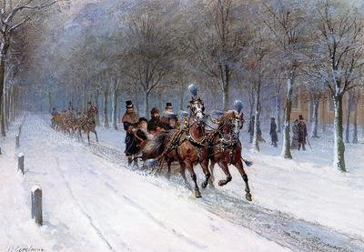 Eerelman Otto Horse sledge in Haagse Bos Sun