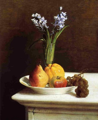 Fantin Latour Still Life Hyacinths and Fruit