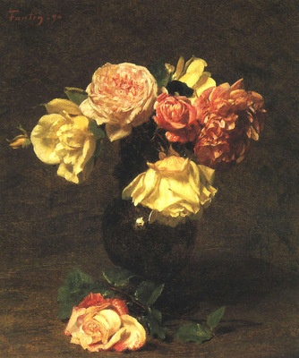 Fantin Latour White and Pink Roses