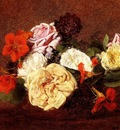 Fantin Latour Henri Bouquet Of Roses And Nasturtiums