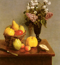 Fantin Latour Henri Still Life With Flowers And Fruit