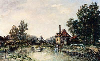 Fesser Josephine A Washerwoman By A Water Mill