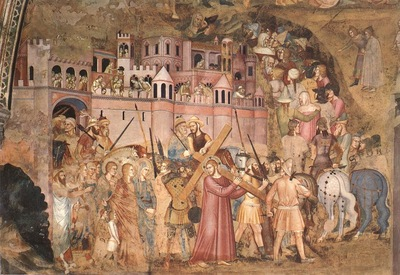 Andrea da Firenze Christ bearing cross to Calvary, 1365 68,
