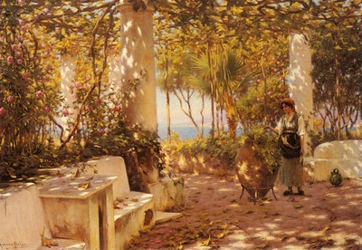Fisher Horace A Peasant Girl On A Sunlit Veranda