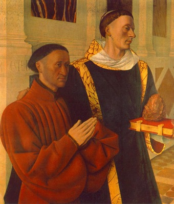FOUQUET ETIENNE CHEVALIER AND HIS PATRON SAINT STEFANUS , B