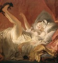 Fragonard Young Woman Playing with a Dog