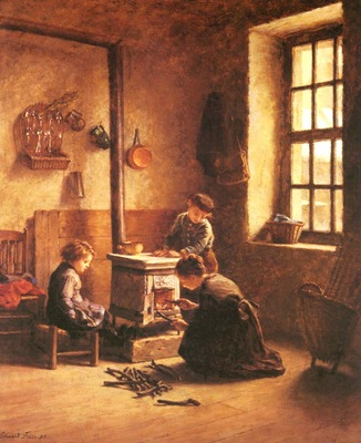Frere Pierre Edouard Lighting The Stove